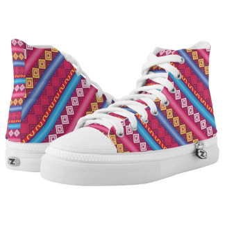 Modern pink peruvian Pattern Printed Shoes