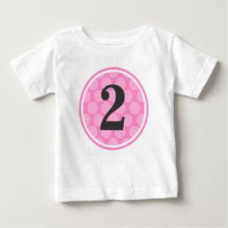 Modern Pink Polka Dot Second Birthday Girl Baby T-Shirt