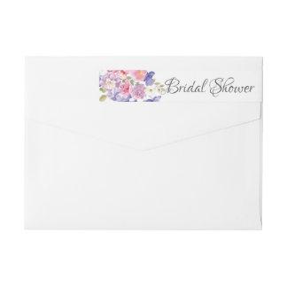 Modern Pink & Purple  Flowers  Bridal Shower label