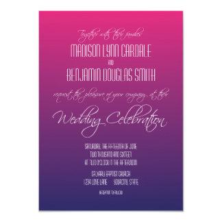 Modern Pink Purple Gradient Wedding Invitations