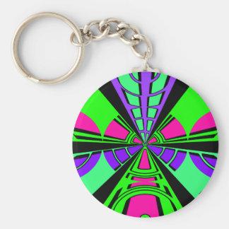 Modern pink purple green black semi-circle design basic round button key ring