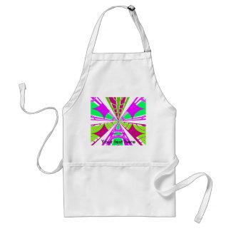 Modern pink purple green white semi-circle design standard apron