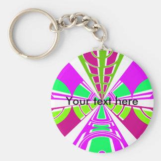 Modern pink purple green white semi-circle design basic round button key ring
