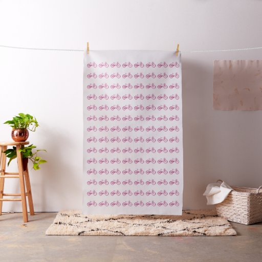 Modern Pink Purple Vintage Bicycle Fabric