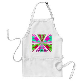 Modern pink purple white semi-circle design standard apron