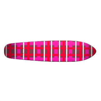 Modern pink red and green plaid 20 cm skateboard deck