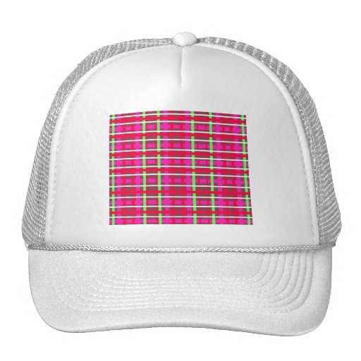 Modern pink red and green plaid trucker hats