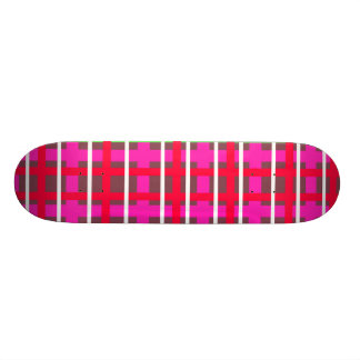 Modern pink red and green plaid skate deck