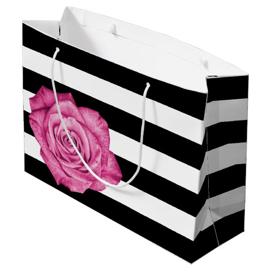 Modern Pink Rose Black White Striped Wedding Party