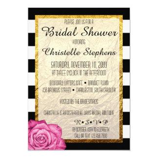 Modern Pink Rose Faux Gold Foil Bridal Shower 13 Cm X 18 Cm Invitation Card