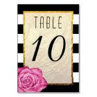 Modern Pink Rose Faux Gold Foil Striped Wedding Card