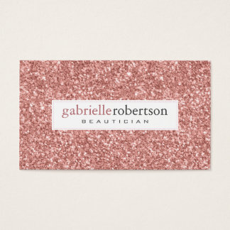 Modern Pink Rose Glitter Texture White Accents Business Card
