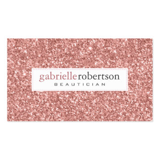 Modern Pink Rose Glitter Texture White Accents Pack Of Standard Business Cards