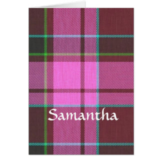 Modern pink tartan personalized card