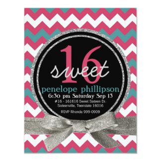 Modern Pink Teal Chevron Girly Sweet 16 11 Cm X 14 Cm Invitation Card