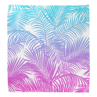 Modern pink teal tropical palm trees pattern bandana