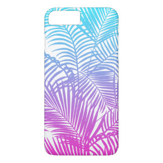 Modern pink teal tropical palm trees pattern iPhone 8 plus/7 plus case