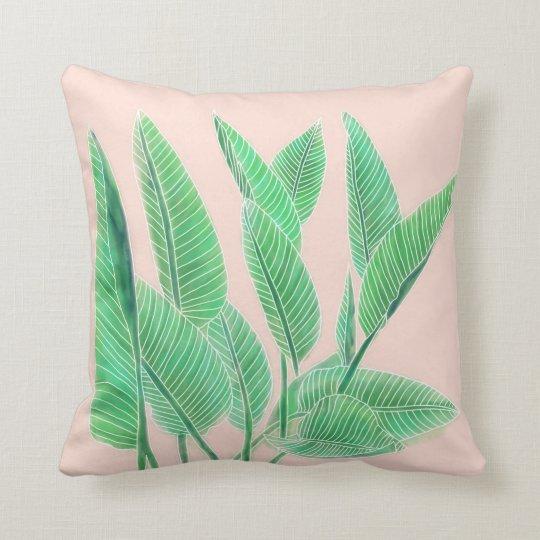 Modern pink tropical green watercolor leaf cushion