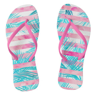 Modern pink turquoise palm tree watercolor stripes flip flops