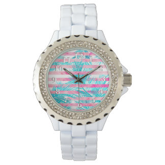 Modern pink turquoise palm tree watercolor stripes watch