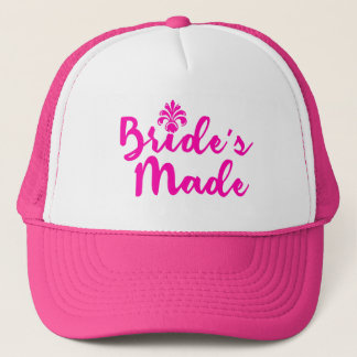 Modern Pink Typography Bride's Made Trucker Hat