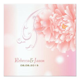 modern pink vintage spring Peony floral wedding Invitation