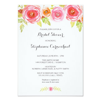 Modern Pink Watercolor Floral Bridal Shower Invite