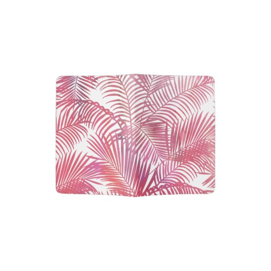 Modern pink watercolor tropical palm tree floral passport
