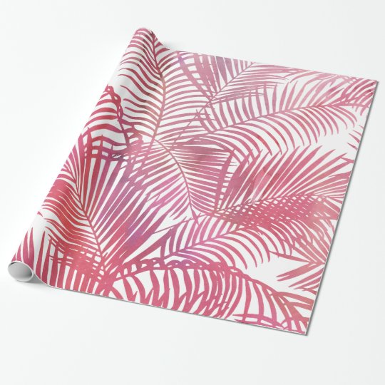 Modern pink watercolor tropical palm tree leaves wrapping