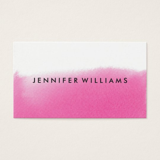 Modern Pink Watercolor Wash   Business Cards
