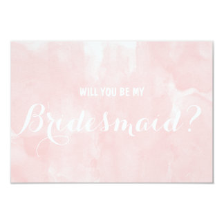 Modern pink watercolor Will you be my Bridesmaid Card
