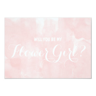 Modern pink watercolor Will you be my flower girl Card