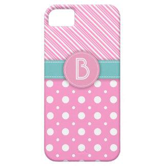 Modern pink, white, aqua polka dot & stripes iPhone 5 cases