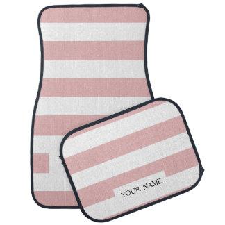 Modern Pink White Stripes Pattern Car Mat