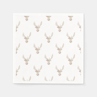 Modern Pink White Vintage  Floral Deer Head Disposable Napkins