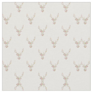 Modern Pink White Vintage  Floral Deer Head Fabric