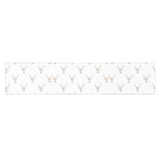 Modern Pink White Vintage  Floral Deer Head Short Table Runner