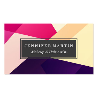 Modern Pink Yellow Black Geometric Pattern Pack Of Standard Business Cards