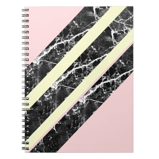 Modern pink yellow black marble stripes notebook