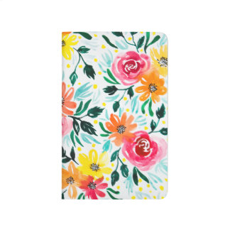 Modern Pink Yellow Floral Watercolor Pattern Journal