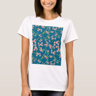 Modern pink yellow oriental summer botanic floral T-Shirt