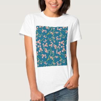 Modern pink yellow oriental summer botanic floral t-shirts