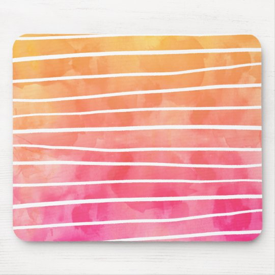 Modern pink yellow sunset watercolor ombre stripes mouse