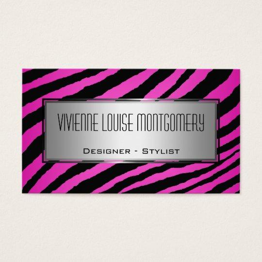 Modern Pink Zebra Professional Business Card