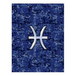 Modern Pisces Zodiac Sign Navy Blue Digital Camo Postcard