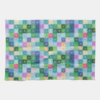 Modern pixel block colorful country patches towel