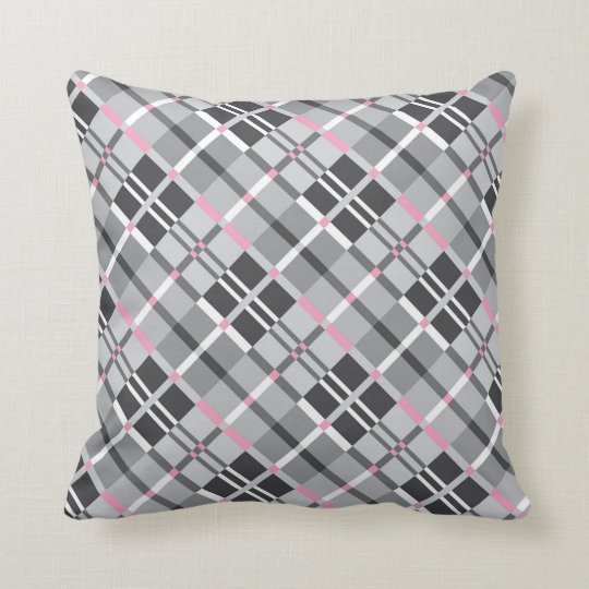 Modern Plaid in Shades of Grey with Pink