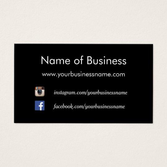 Modern Plain Black Social Media Websites Business Card