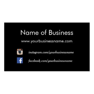 Modern Plain Black Social Media Websites Pack Of Standard Business Cards