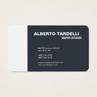 Modern Plain Elegant Minimalist Blue Grey White Business Card